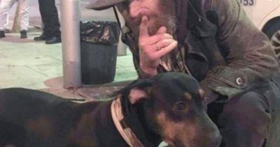 Eine Frau sieht einen Obdachlosen mit seinem Hund auf der Straße